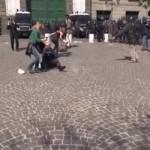 Tafferugli durante la protesta