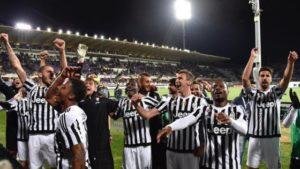 Le festa della Juventus al Franchi (ansa)